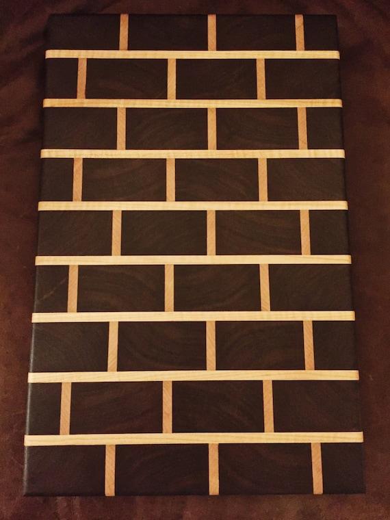 "Walnut and Maple Wooden ""Brick Wall"" End Grain Chopping / Cutting Board. 17"" x 11"" x 1"""