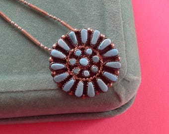 Pretty Native American Zuni Blue Turquoise Pendant and Chain