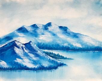 Blue Monochromatic Oil Mountain Painting