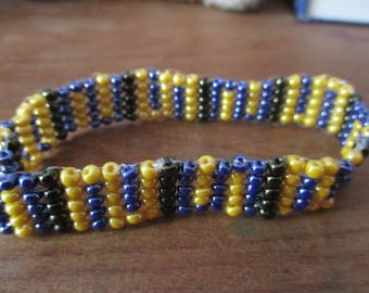 Geometric two blue, black, yellow, bracelet