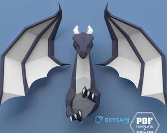 Pdf templates to create lively paper wall sculptures by for Cardboard dragon template