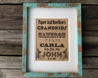 GRANDPARENT Burlap Print, Birthday Gift, Grandma Gift, Grandparent Gift, Grandma Birthday Gift, Rustic Home Decor, Burlap Home Decor