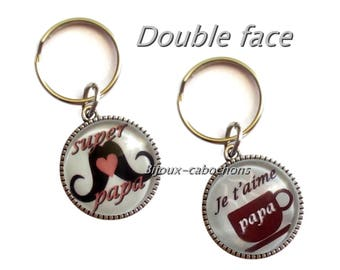 """Father's day Keychain """"je t'aime papa"""" (l love you dad), """"super papa"""" double face cabochon, french message"""