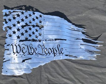 "We The People, Tattered, Battle worn flag, metal wall art, Here you have the 24"" x 14"" Do it yourself, unfinished, flag, wall decor, 50 star"