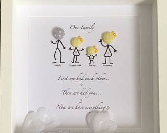 Personalised family frame - glitter/hearts, home decor, keepsake