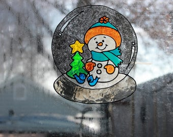 Snow Man Snow Globe Handmade Window Cling
