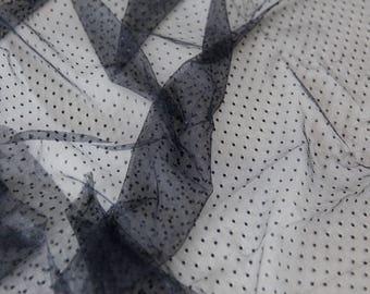 Black Point d'Esprit Lace Fabric, Soft Dotted Lace Fabric, Dotted Tulle, Polka dot Tulle for Bridal Veils