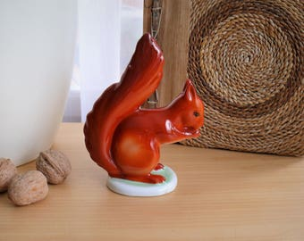 Vintage Hollóházi Hungarian Ceramic China Squirrel, Hand Painted Porcelain Figurine, Hungarian Red Squirrel Porcelain