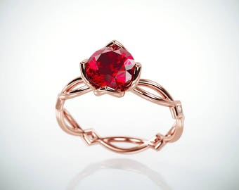 SALE Christmas in July! 14K Rose Gold Natural Ruby Engagement Ring  | 14k rose gold Natural Ruby and Diamonds engagement ring