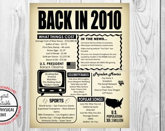 8 Years Ago Back in 2010, 8th Birthday Poster Sign, Back in 2010 Newspaper Style Poster, Printable, Instant Download, 8 years ago facts