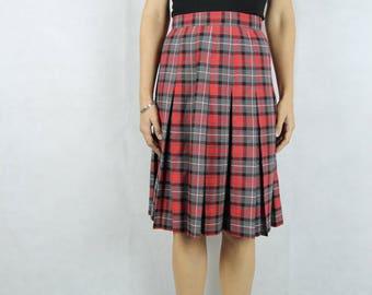 VINTAGE KATIES 1980s Tartan Plaid Skirt Size M 10 12