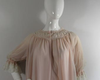 BNWT 1950's St.Michael's/Bri Nylon Dusty Pink Negligee/Housecoat- Uk 10-14