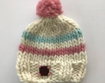 Cream cap/hand knitted hat/Boobie Power