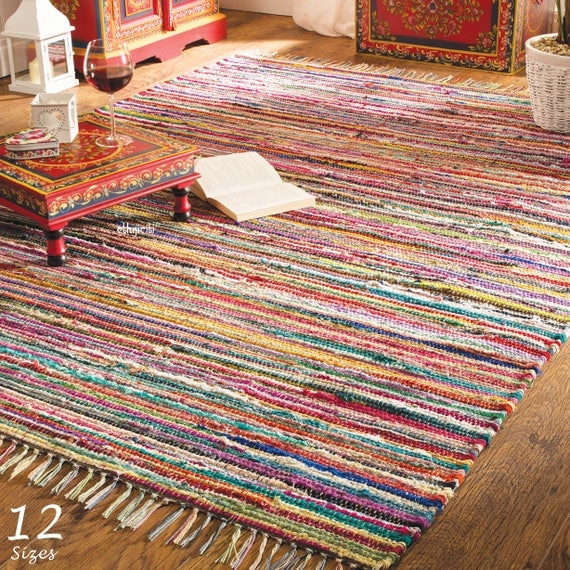 Rag Rugs Indian: Rag Rug 12 Sizes Cotton Traditional Indian Hand Made Chindi