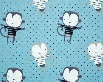 tricot, jersey, blue knit fabric, children's fabric, fabric for children, monkeys, dust, monkeys children fabric, jersey