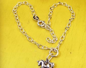Handmade Sterling silver UNICORN charm bracelet