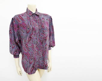 UK14, Vintage Blouse, Purple, Paisley, Hippy Top, Boho Blouse, Secretary, Pinup, Retro, Ladies Clothing, Women's Vintage