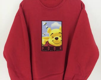 Vintage 90's Winnie The Pooh Red Walt Disney Tokyo Disneyland Cartoon Classic Design Skate Sweat Shirt Sweater Varsity Jacket Size L #A814