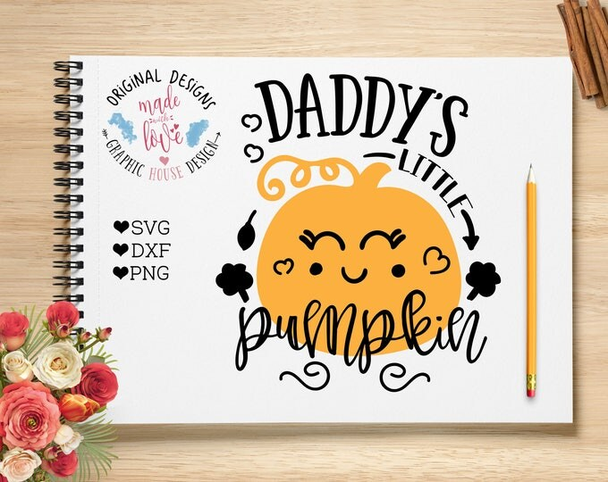 Daddy's pumpkin Cut File and Printable available in SVG, DXF and PNG, can be used with Silhouette Cameo, Cricut, other cutting machines