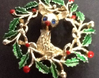 Vintage Gerry's Rudolph Brooch Christmas Pin 1.00 Shipping