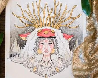 Princess Mononoke Fine Art Handmade Print