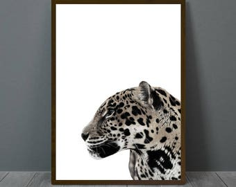Jaguar Print White, Jaguar Wall Decor, Jaguar Poster, Jaguar, Animal Print Wall Decor, Jaguar Wall Art, Jaguar Printable