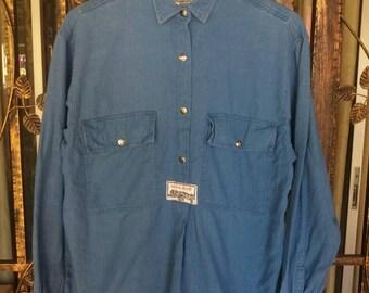 Vintage Krizia jeans pullover shirt half button/blue/xl/designer