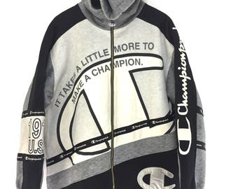 Vintage Champion big logo embroidery soellout zipper hooded/large size/sportwear
