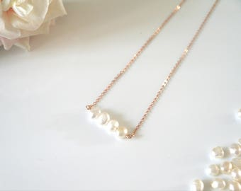 Fresh Water Pearl Necklace | Rose Gold Necklace | Fresh Water Pearls | Necklace |