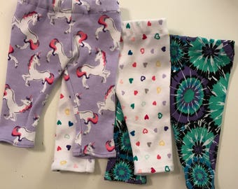 "18"" Doll Ankle Length Leggings to Fit Like American Girl Doll Clothes, 14"" Doll, 18"" Doll Leggings, Modern, Trendy, Unicorns, Heart Leggings"