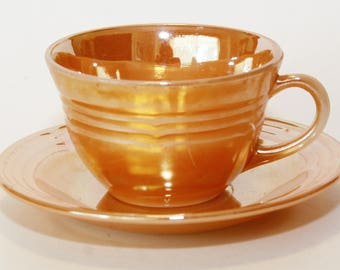 Fire-King USA Three Band Peach Luster Cup & Saucer, Oven Ware, EUC Vintage