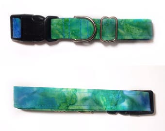 Tie dye dog collar Blue and Green