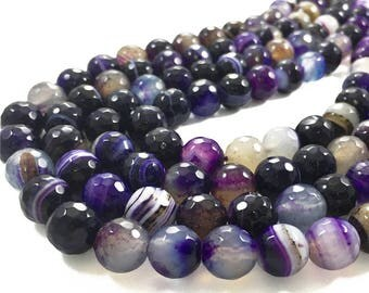 10mm Faceted Agate Beads, Purple Agate Stone Beads, Gemstone Beads, Wholesale Beads