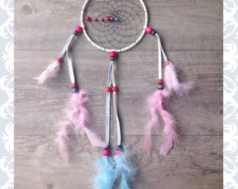 pink, white and blue native american dreamcatcher
