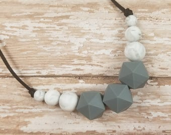 SALE! Teething necklace, nursing necklace, teether, chewelry, hexagon necklace, adult chewelry, chewelry necklace, teething necklace adult