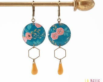 Resinees earrings round Hexagon blue floral pattern