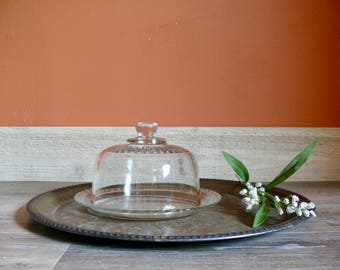 French Glass Cheese Dome with Plate, Glass Cloche, Terrarium, Outdoor Dining, French Country Farmhouse Display Decor