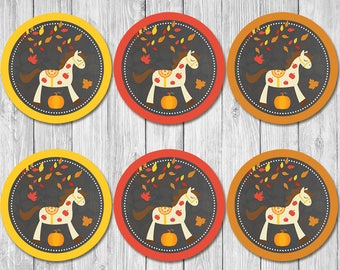 Autumn / Fall Birthday Horse Pony Cupcake Toppers - Chalkboard - Fall Pony Ride Birthday Party Favor Tags / Stickers - Horse Birthday Party