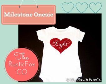 Eight Month Onesie, Eight Month Bodysuit, Eight Month Milestone Onesie, Milestone Onesies, Monthly Onesie, Glitter Onesie, Baby Shower Gift