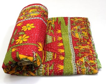 Indian Handmade Twin Size Reversible Floral Cotton Quilt Throw Embroidered Bohemian BedSpread Gypsy Blanket Ethnic Bedding Coverlet J745