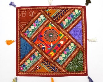Handmade Hippie Gypsy Home Decor Ethnic Multi color Embroidered Hippy Patchwork Bohemian Pillow Shams Couch Cushion Cover Case G800