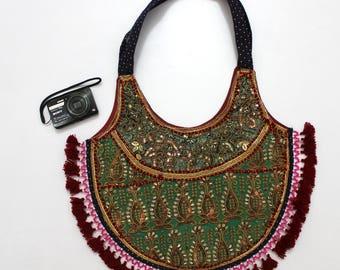 Handmade Ethnic Designer Tribal Banjara Patchwork Embroidered Hippy Fashionable Stylish Trendy Hippie Gypsy Boho Bohemian Shopper Bag I071