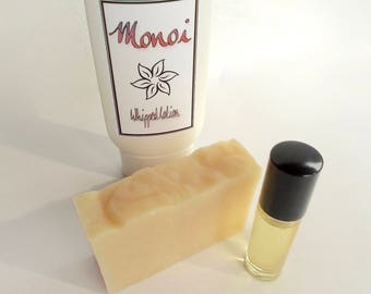 Monoi Perfume Gift Set - Gardenia - Handmade Perfume Oil, Whipped Body Lotion, Cold Process, Artisan Soap, Tiare Flower