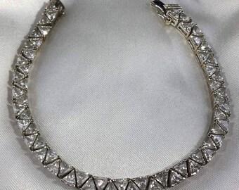 Vintage Sterling Silver CZ Link Bracelet