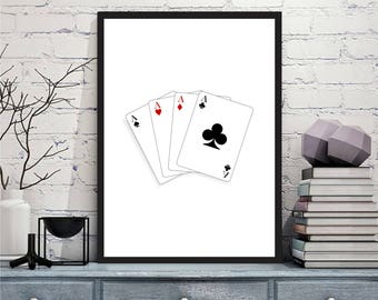 Printable art Digital Prints playing cards modern wall art printable art, printable prints
