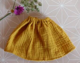 Skirt elastic waist for doll Chérie Corolla/Paola Reina 33 cm-Double gauze - mustard