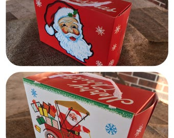 Vintage NOS 1960s Fold Up Cardboard  Christmas Candy Container, Gift Box, Santa's Face and Santa in Jalopy