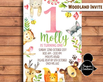 Woodland Girl Invitation. Woodland Birthday Party. Woodland Animals. Party Supplies
