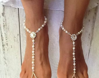 Crystal Beach Wedding Sandal, Beach Wedding Sandals, Barefoot Sandals to wear for a Wedding, Sandals for the Beach