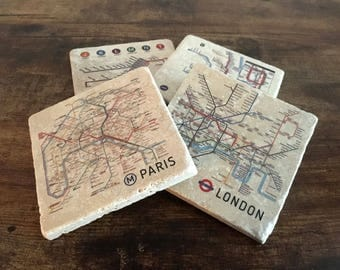 Mix and Match Metro Maps Coaster Set, Tile Coasters, Drink Coasters, Travertine Coasters, Souvenir Coasters, Travel Souvenir